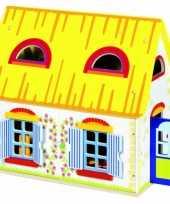 Groothandel houten speel poppenhuis 39 5 x 24 5 x 35 cm speelgoed
