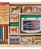 Groothandel houten stempelsetje paarden speelgoed