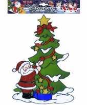 Groothandel kerst raamsticker kerstman bij kerstboom speelgoed
