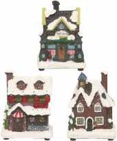 Groothandel kerstdorp huisjes set van 3x huisjes met led verlichting 12 cm speelgoed 10241788