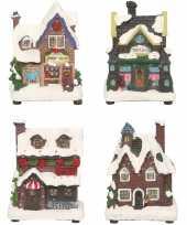 Groothandel kerstdorp huisjes set van 4x huisjes met led verlichting 12 cm speelgoed