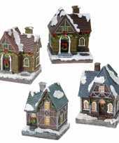 Groothandel kerstdorp huisjes set van 4x huisjes met led verlichting 13 5 cm speelgoed 10241797