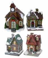 Groothandel kerstdorp huisjes set van 4x huisjes met led verlichting 13 5 cm speelgoed 10241798