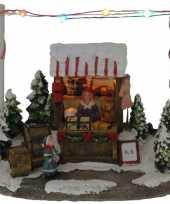 Groothandel kerstdorp kersthuisje speelgoed winkel kraam 16 cm met led lampjes