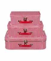 Groothandel kraamkado koffertje rood gestreept 35 cm speelgoed