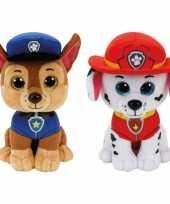 Groothandel paw patrol knuffels set van 2x karakters chase en marshall 15 cm speelgoed