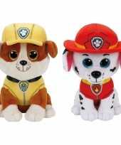 Groothandel paw patrol knuffels set van 2x karakters rubble en marshall 15 cm speelgoed