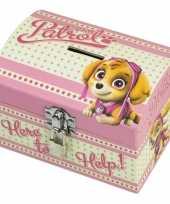 Groothandel paw patrol roze speelgoed spaarpot met slotje voor meisjes