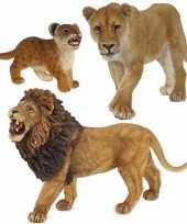 Groothandel plastic speelgoed dieren figuren setje leeuwen familie van vader moeder en kind