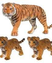 Groothandel plastic speelgoed dieren figuren setje tijgers familie van moeder en 2x kinderen