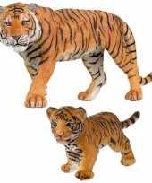 Groothandel plastic speelgoed dieren figuren setje tijgers familie van moeder en kind