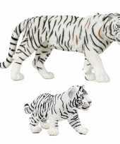 Groothandel plastic speelgoed dieren figuren setje witte tijgers familie van moeder en kind