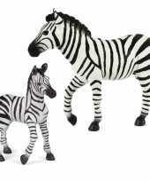 Groothandel plastic speelgoed dieren figuren setje zebra familie van moeder en kind