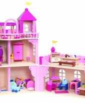 Groothandel roze speelgoed paleis van hout