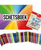 Groothandel schetsboek kleurenwaaier thema a4 50 paginas met 50 viltstiften en 24 potloden speelgoed