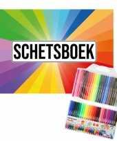 Groothandel schetsboek kleurenwaaier thema a4 50 paginas met 50 viltstiften speelgoed