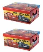Groothandel set van 2x stuks rode opbergbox opbergdoos disney cars 37 cm speelgoed