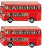 Groothandel set van 2x stuks speelgoedauto siku dubbeldekker bussen 10 cm