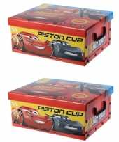 Groothandel set van 4x stuks rode opbergbox opbergdoos disney cars 37 cm speelgoed