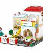 Groothandel sluban vrijstaand huis bouwstenen set speelgoed