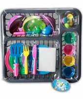 Groothandel speelgoed afwasrek met gekleurd servies