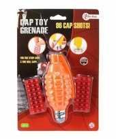 Groothandel speelgoed handgranaat met klappertjes met 96 schoten oranje 14 cm