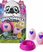 Groothandel speelgoed hatchimals colleggtibles nest met 2 eieren roze seizoen 2