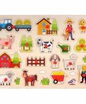 Groothandel speelgoed houten noppenpuzzel boerderij thema 40 x 30 cm
