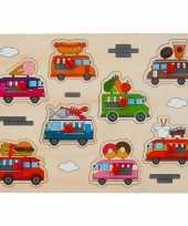 Groothandel speelgoed houten noppenpuzzel foodtruck thema 30 x 22 cm