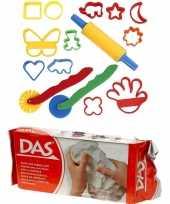 Groothandel speelgoed klei combi pakket van 1 kilo witte klei met 15 delige kleivormen set