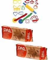 Groothandel speelgoed klei combi pakket van 2 kilo terracotta klei met 15 delige kleivormen set