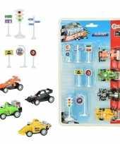 Groothandel speelgoed set met raceauto en verkeersborden