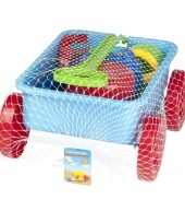 Groothandel speelgoed zand trekkar blauw 7 delig