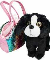 Groothandel speelgoed zwart wit hondje met pailletten tas