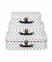 Groothandel speelgoedkoffertje wit polka dot 25 cm