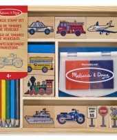 Groothandel stempelset met voertuigen 15 delig speelgoed