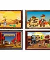 Groothandel western muurposters 4 stuks speelgoed